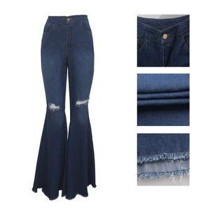Denim - Retro Ripped Wide Leg Flare Jeans